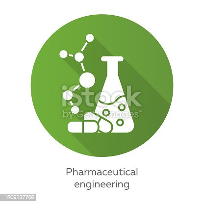 Engenharia farmacêutica verde design plano longo ícone de glifo sombra. Formulação de drogas. Engenharia química. Frasco, molécula, cápsulas. Farmacologia. Biotecnologia. Ilustração da silhueta vetorial