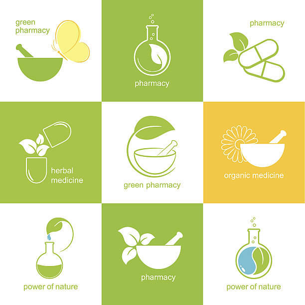 Pharmaceutical icons vector art illustration