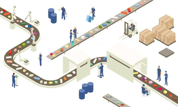 Pharmaceutical industry illustration vector art illustration
