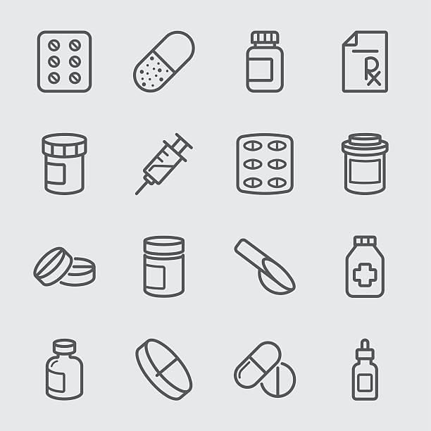 illustrazioni stock, clip art, cartoni animati e icone di tendenza di pharmaceutical line icon - dose