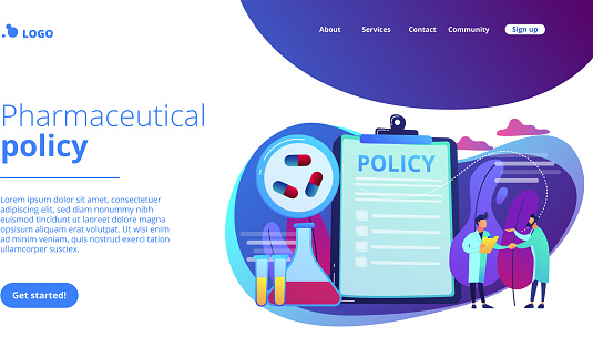 Pharmaceutical policy on clipboard and researchers, tiny people. Pharmaceutical policy, pharmaceutical lobby, drugs production control concept. Website vibrant violet landing web page template.