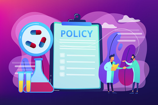 Pharmaceutical policy on clipboard and researchers, tiny people. Pharmaceutical policy, pharmaceutical lobby, drugs production control concept. Bright vibrant violet vector isolated illustration
