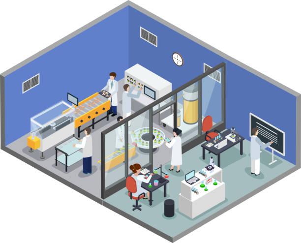 isometrischer Hintergrund der pharmazeutischen Produktion – Vektorgrafik