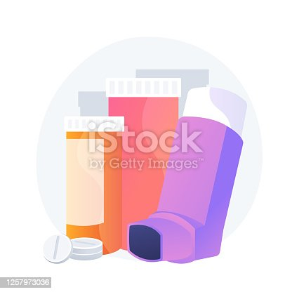 Pharmaceutical products. Respiratory sickness, bronchial asthma, allergy treatment design element. Medical supplement, pills and asthma inhaler. Vector isolated concept metaphor illustration
