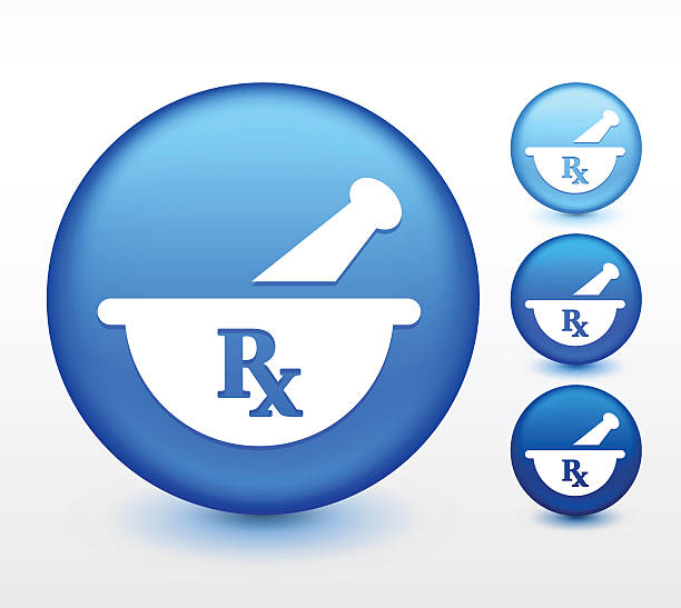 Pharmaceutical RX on Blue Round Button Pharmaceutical RX on Blue Round Button. This vector illustration shows one large blue circle button with a column of three smaller buttons to its right against a white background. The large circle is lined with dark blue with lighter blue reflections. The top small circle is light blue, the middle one slightly darker blue. The bottom smaller button is the darkest blue. rx stock illustrations