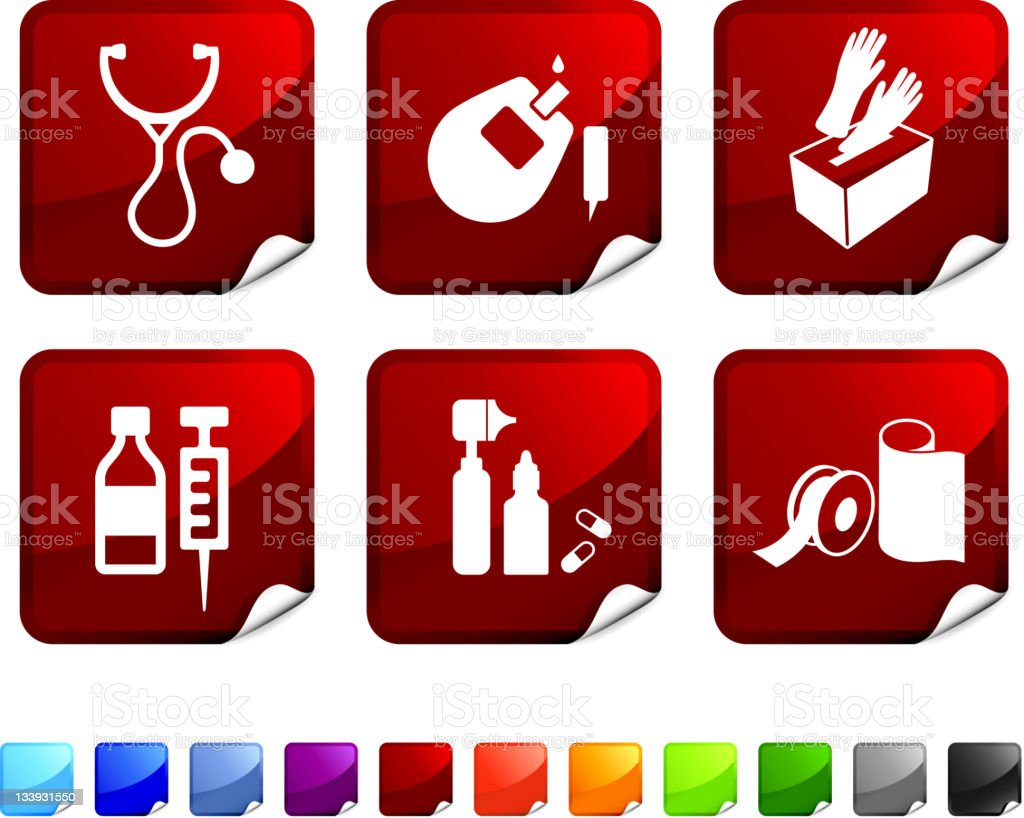 pharmaceutical supplies royalty free vector icon set stickers royalty-free stock vector art