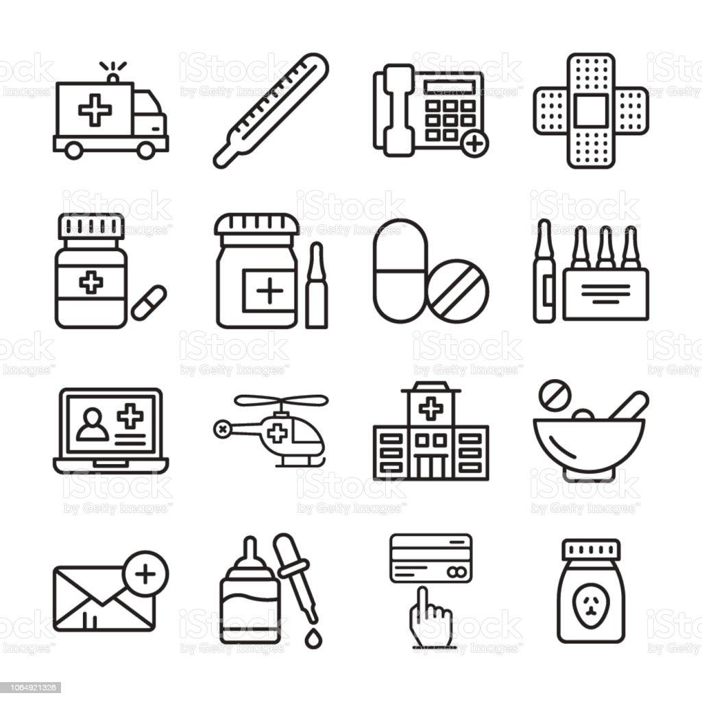 Pharmaceutical Vector Icons Set vector art illustration