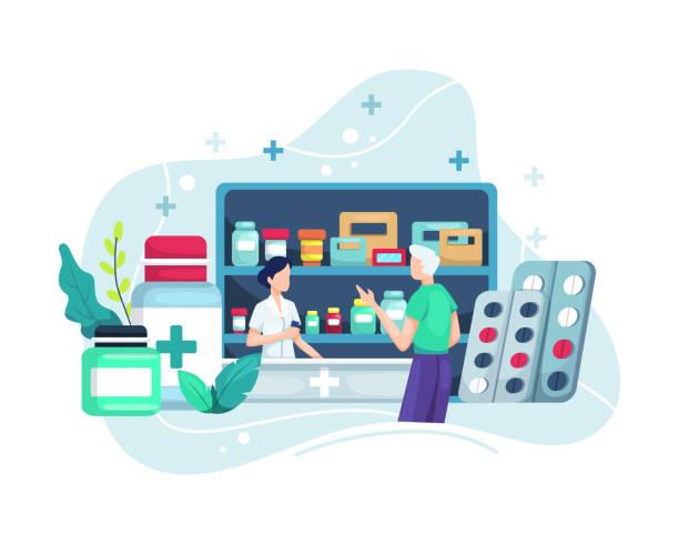 illustrazioni stock, clip art, cartoni animati e icone di tendenza di farmacista al bancone in farmacia - farmacia