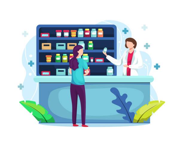 illustrazioni stock, clip art, cartoni animati e icone di tendenza di farmacista allo sportello in farmacia - farmacia