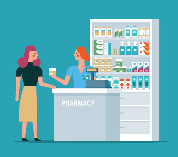 Pharmacist in the workplace in a pharmacy Pharmacist in the workplace in a pharmacy stock illustration pharmacy stock illustrations