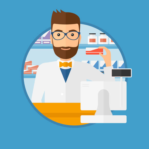 Pharmacist showing some medicine A hipster pharmacist standing at the counter and showing some medicine. Male pharmacist holding a box of pills in the pharmacy. Vector flat design illustration in the circle isolated on background. pharmacist stock illustrations