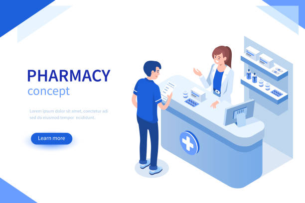 pharmacist Doctor pharmacist and patient in drugstore. Can use for web banner, infographics, hero images. Flat isometric vector illustration isolated on white background. pharmaceutical industry stock illustrations