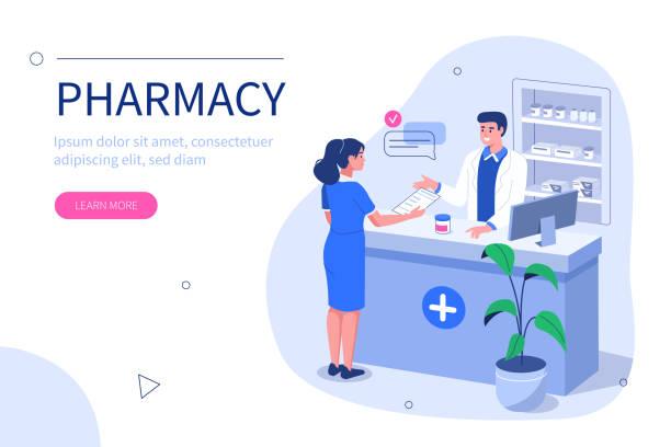 illustrazioni stock, clip art, cartoni animati e icone di tendenza di farmacista - farmacia