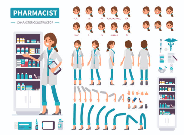 pharmacist Woman pharmacist character. Front, side and back view. Flat  cartoon style vector illustration isolated on white background. pharmaceutical industry stock illustrations