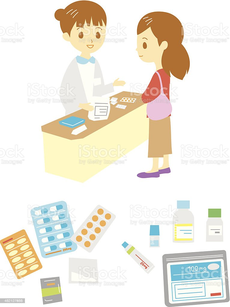 pharmacist's office and medical supplies vector art illustration