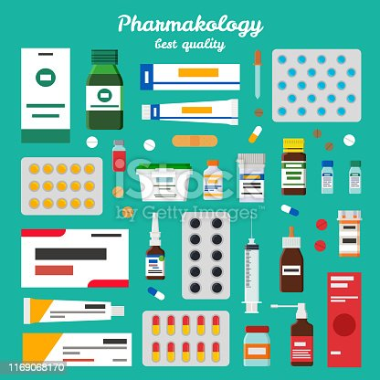 Pharmacology best quality representing icons of pills, ointments and inhalers, syringes and syrups vector illustration isolated on green