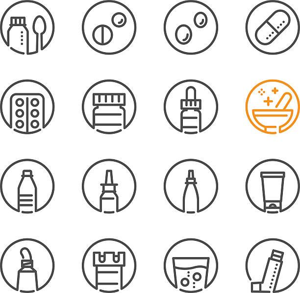 illustrations, cliparts, dessins animés et icônes de icônes de médecine et pharmacie - pastille