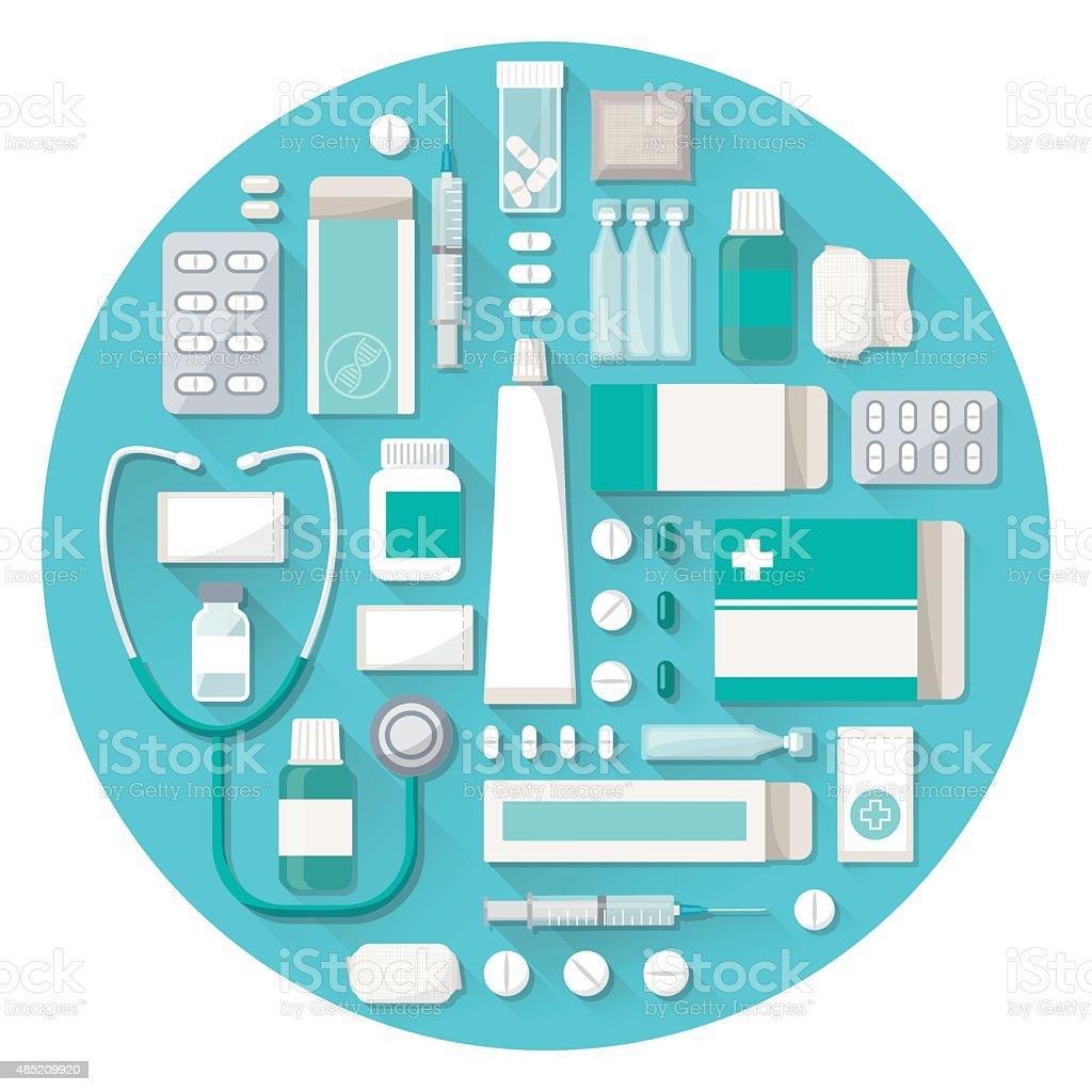 Pharmacy and medications vector art illustration