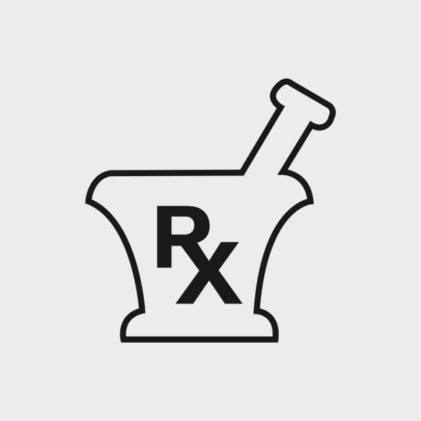 illustrazioni stock, clip art, cartoni animati e icone di tendenza di icona della linea farmacia e medicina. su sfondo grigio. - farmacia