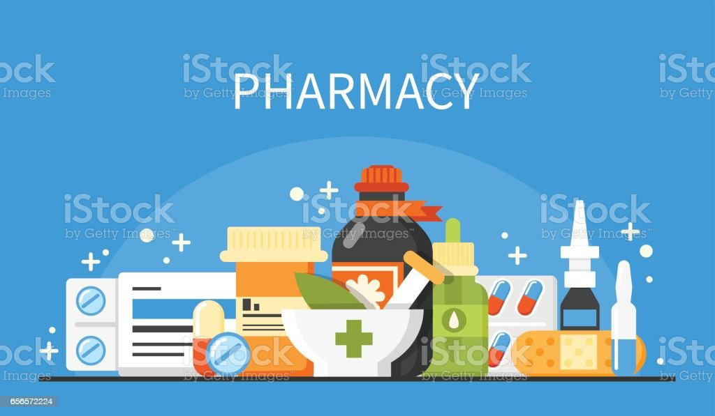 Pharmacy Banner Stock Illustration - Download Image Now - iStock