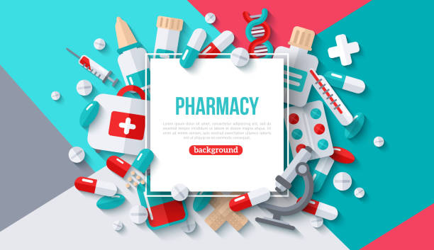illustrazioni stock, clip art, cartoni animati e icone di tendenza di pharmacy banner with square frame - antidolorifico