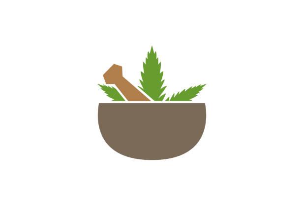 Apotheke Bio und Naturel Rezept mit Marihuana für Logo-design – Vektorgrafik