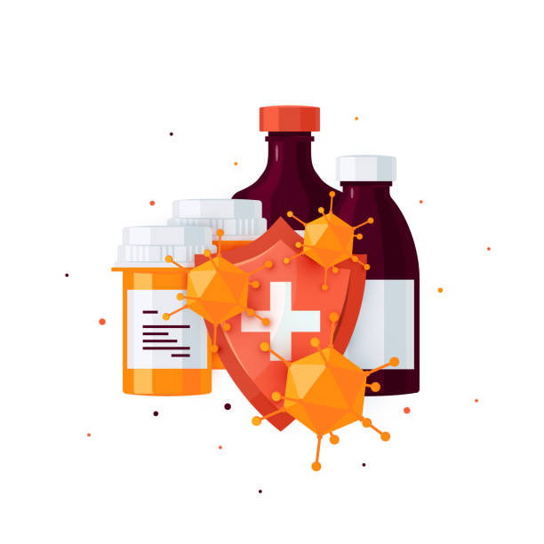 Pharmacy bottles vector concept in cartoon style Medicine concept with pill bottles and shield against bacteria and viruses. Design for medical infographics, web banners, posters, pots in social media etc. antiviral drug stock illustrations