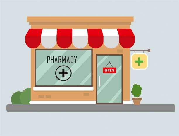 illustrazioni stock, clip art, cartoni animati e icone di tendenza di design piatto dell'edificio della farmacia - farmacia
