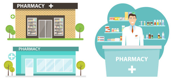 Pharmacy building in a flat design. Interior and pharmacy building. Pharmacy room with a pharmacist. Vector illustration, vector. Pharmacy building in a flat design. Interior and pharmacy building. Pharmacy room with a pharmacist. Vector illustration, vector. pharmacy stock illustrations