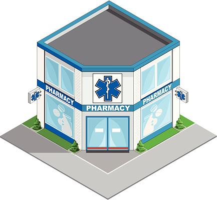Pharmacy building isometric