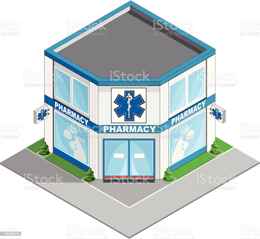 Pharmacy building isometric vector art illustration