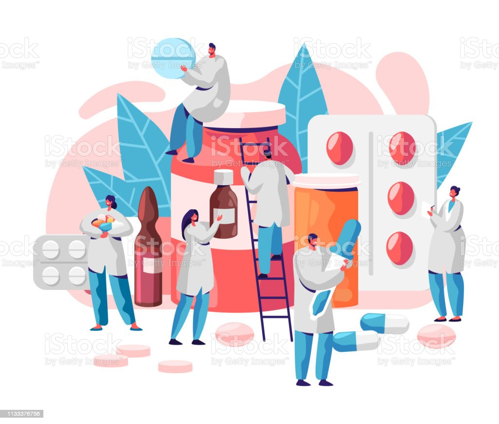 Pharmacy Business Medicine Drug Store Character. Pharmacist Care for Patient. Professional Pharmaceutical Science. Online Pill Drugstore Infographic Background. Flat Cartoon Vector Illustration - arte vettoriale royalty-free di Affari