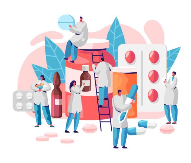 illustrazioni stock, clip art, cartoni animati e icone di tendenza di farmacia business medicine drug store personaggio. farmacista cura per il paziente. scienze farmaceutiche professionali. sfondo infografico farmacia pillola online. illustrazione vettoriale cartone animato piatta - farmacia