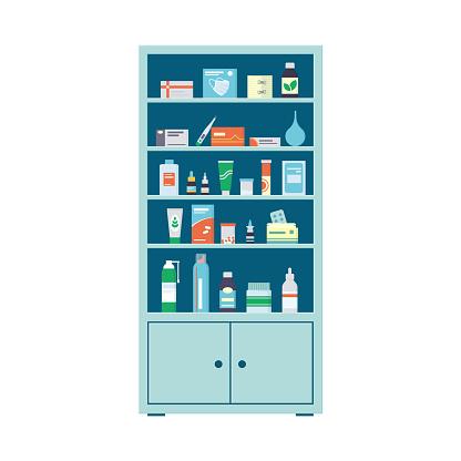 Pharmacy cabinet full of drugs, pills and bottles. Pharmacy shelves. Medical cabinet. Vector illustration in flat style on white background
