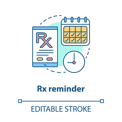 Pharmacy Concept Icon Rx Medication Intake Reminder Idea Thin Line Illustration Prescription Drugs Scheduled Alarm Smartphone Medicine Tracker Vector Isolated Outline Drawing Editable Stroke Stock Illustration Download Image Now Istock