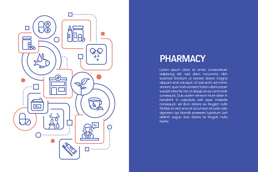 Pharmacy Concept, Vector Illustration of Pharmacy with Icons