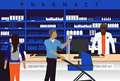 Vector illustration of a Pharmacy concept with male African American Pharmacist.