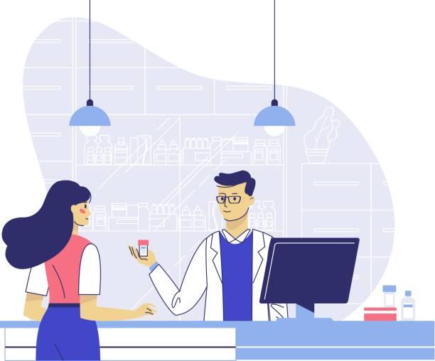 illustrazioni stock, clip art, cartoni animati e icone di tendenza di concetto di farmacia con farmacista e paziente. - farmacia