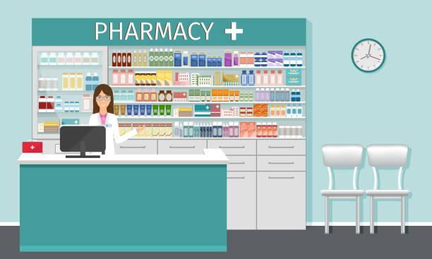 illustrazioni stock, clip art, cartoni animati e icone di tendenza di banco farmacia con farmacista. interni in farmacia con vetrine con medicinali e carattere femminile farmacista. - farmacia
