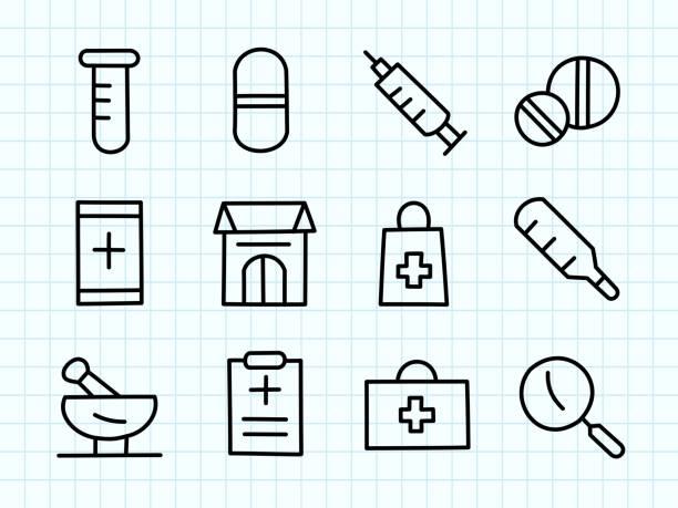 illustrations, cliparts, dessins animés et icônes de dessin de doodle de pharmacie - aide soignant