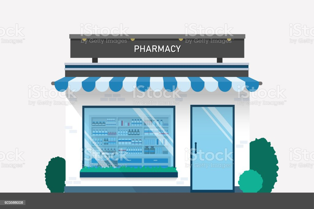 Pharmacy drugstore design with drug shelves and cashier counter flat design illustration vector. - arte vettoriale royalty-free di Accudire