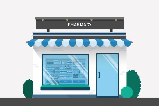 stockillustraties, clipart, cartoons en iconen met apotheek drogisterij design met drug schappen en kassa teller platte ontwerp illustratie vector. - apotheek
