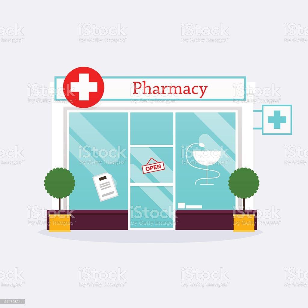 apotheke drogerie shop fassade wohnung stil vektor illustration lizenzfreies apotheke drogerie shop fassade