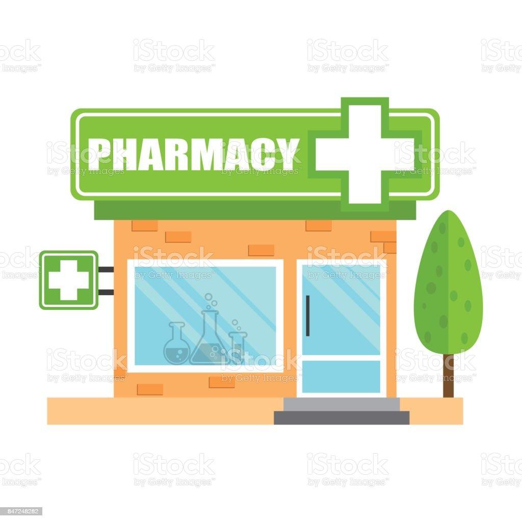 薬局ドラッグ ストア ショップ白い背景に薬局のベクトル図を保存します