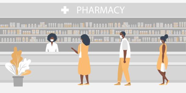 Pharmacy during the coronavirus epidemic. Black people in medical masks in the pharmacy vector art illustration
