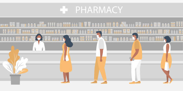 Pharmacy during the coronavirus epidemic. People in medical masks in the pharmacy vector art illustration