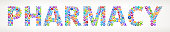 Pharmacy Future and Futuristic Technology Vector Buttons.. This royalty free vector illustration features a word made up of education and e-learning buttons of various sizes and colors. Each button features an icon in white and the buttons form a seamless pattern to make up each letter and word. The background of the image is light with a slight gradient. The word is conceptual in nature and include such classic educational icons as school, laptop computer, graduation cap, microscope, students studying and many more. The buttons are red, blue, green, orange in color and the image is very vibrant.