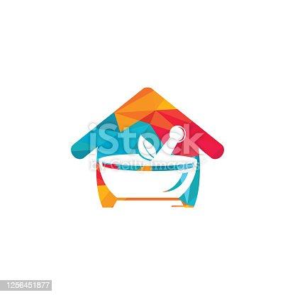 istock Pharmacy home logo design. 1256451877