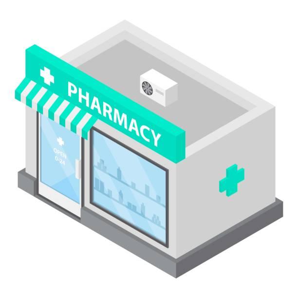Pharmacy icon, isometric style Pharmacy icon. Isometric of pharmacy vector icon for web design isolated on white background pharmacy stock illustrations