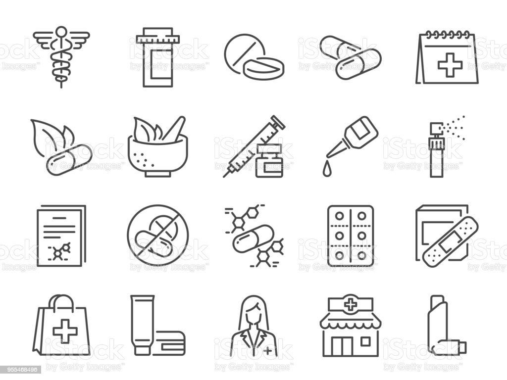 Pharmacy icon set. Included the icons as medical staff, drug, pills, medicine capsule, herbal medicines,  pharmacist, drugstore and more vector art illustration